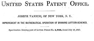 Business method patent - Image: Lottery patent header