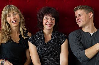 Gabrielle (2013 film) - Director Louise Archambault with stars Gabrielle Marion-Rivard and Alexandre Landry.