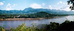 Luangphabang seen from right bank of Mekong (montage)