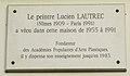 Lucien Lautrec plaque - 10 rue Tournefort, Paris 5.jpg