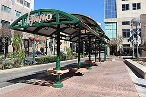 Lynx (Orlando) - Bus stop on South Orange Avenue in Downtown Orlando, Florida