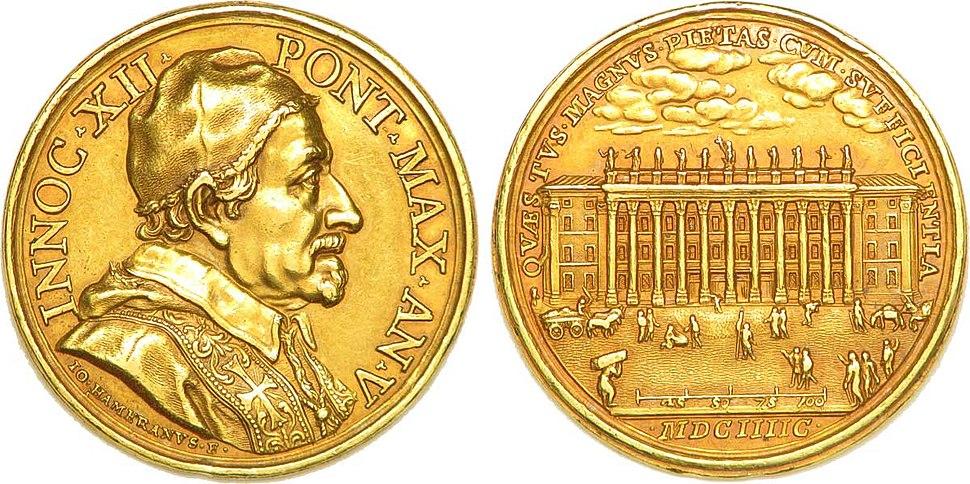 Médaille annuelle en or du Vatican à l'effigie du Pape Innocent XII, 1695