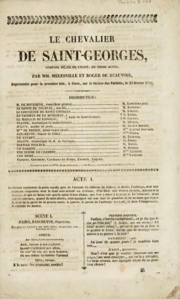 File:Mélesville, Beauvoir - Le chevalier de Saint-Georges, Comédie mêlée de chant, en trois actes, 1840.djvu