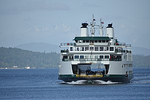 Washington State Ferries - The MV Chimacum arrives in Seattle for the first time with passengers on board, on May 24, 2017.