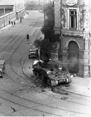 741st Tank Battalion (United States) - Image: M4 burning leipzig