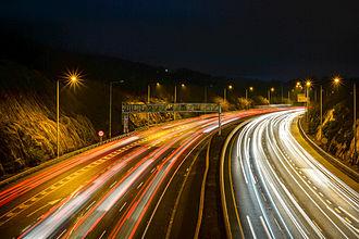 M50 motorway (Ireland) - M50 Dundrum exit at evening rush hour.