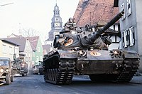 M60A3 of 3rd Battalion, 32nd Armor moving through Langgöns during Central Guardian '85, a phase of REFORGER '85 DF-ST-85-13331.jpg