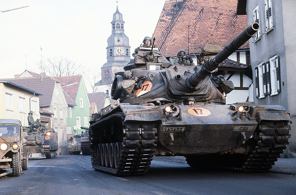 M60A3 of 3rd Battalion, 32nd Armor moving through Langgöns during Central Guardian '85, a phase of REFORGER '85 DF-ST-85-13331
