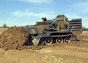 M9 Armored Combat Earthmover - The M9 ACE during a bulldozing operation.