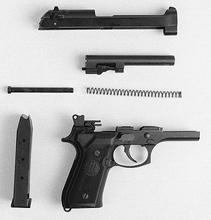 Beretta M9 - M9 pistol partially field stripped