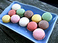 Macarons on a blue rectangular serving dish, August 2009.jpg