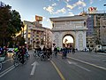 Macedonia gate with bicycle.jpg
