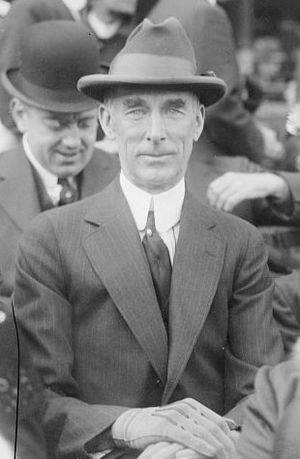 English: Connie Mack, in ballpark grandstand, ...
