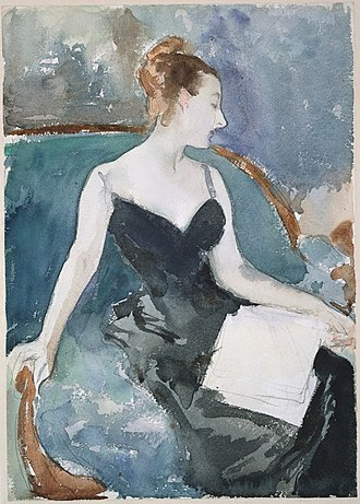 Portrait of Madame X - A figure study by Sargent in watercolor and graphite, c. 1883