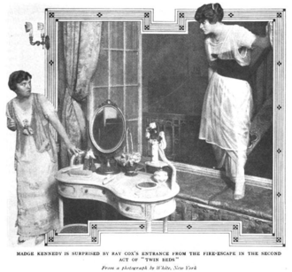 Twin Beds (1914 play) - Madge Kennedy (left) and Ray Cox in Act Two