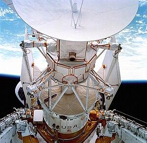 STS-30 - Closeup of the Magellan/IUS stack.