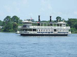 Seven Seas Lagoon - The ''General Joe Potter'' ferryboat, used for transporting guests to the Magic Kingdom.