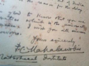 Prasanta Chandra Mahalanobis - Image: Mahalanobis Autographed Postcard