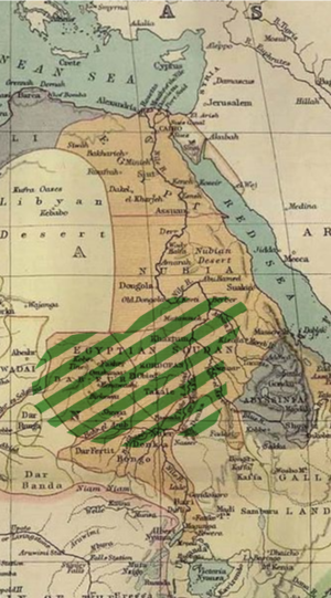 Muhammad Ahmad -  Extent of the Mahdi rebellion in 1885 (green hatching)