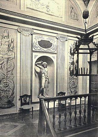 Palacio de La Moncloa before the Spanish Civil War - Main staircase of the Palacio de La Moncloa before the Spanish Civil War (photo taken in 1920).