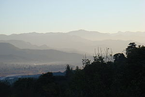 Poonch district, Pakistan - Sunrise over Mehndla and other areas of Poonch