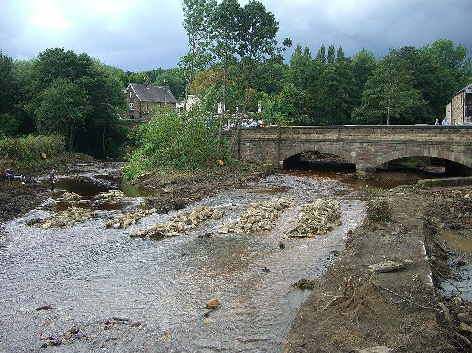 Malin Bridge after flood management.