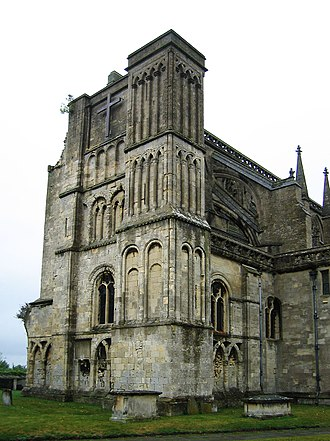 Malmesbury - Image: Malmesbury Abbey west tower