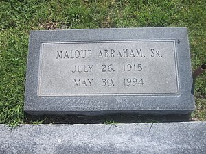 Malouf Abraham Sr. - Grave of Malouf Abraham, Sr., in the family plot at Edith Ford Cemeteries in Canadian, Texas