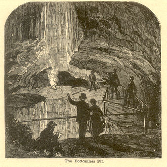 Mammoth Cave National Park - The Bottomless Pit in Mammoth Cave, woodcut (1887)