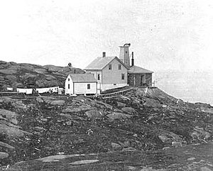 Monhegan, Maine - The former Coast Guard fog signal station on Manana Island, across a narrow passage from Monhegan