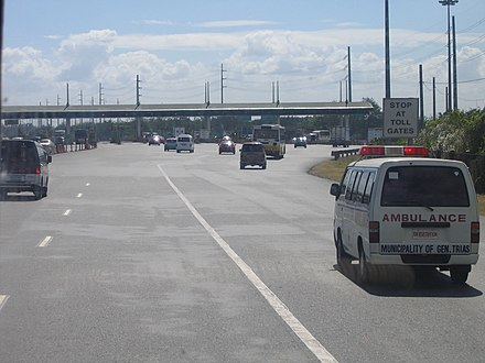 The wide Coastal Road in the Philippines now called the Manila-Cavite Expressway Manila Cavite Expwy Tollgate.jpg