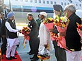 Manmohan Singh being received by the Governor of Punjab, Shri Shivraj V. Patil, the Governor of Haryana, Shri Jagannath Pahadia, the Chief Minister of Punjab, Shri Prakash Singh Badal and the Chief Minister of Haryana.jpg