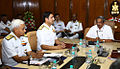 Manohar Parrikar with the Chief of Naval Staff, Admiral R.K. Dhowan and Naval Commanders on the opening day of the Naval Commanders' conference.JPG