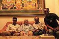 Manoranjan Behera, Vishnu Vardhan, Subhashish Panigrahi along with Padmashri Dr. Debi Prasanna Pattanayak at his residence.jpg