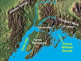Mapa del Prince William Sound