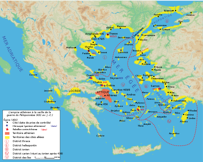 Map athenian empire 431 BC-fr.svg