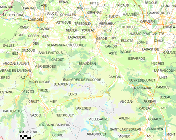 Map of the commune de Bagnères-de-Bigorre