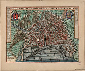 History of Amsterdam - Amsterdam in 1649, with the first section of canal ring added.