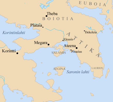 Megara in Attica, lying equidistant from Athens, Thebes, and Corinth