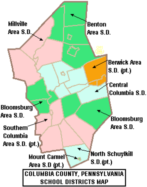 Orange Township, Columbia County, Pennsylvania - Map of Columbia County, Pennsylvania School Districts, with Central Columbia School District in blue in the center of the county.