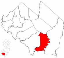 Commercial Township highlighted in Cumberland County. Inset map: Cumberland County highlighted in the State of New Jersey.