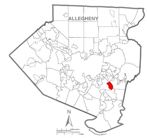 Map of Duquesne, Allegheny County, Pennsylvania Highlighted.png