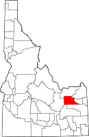 Map of Idaho highlighting Jefferson County
