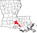 State map highlighting Saint Martin Parish