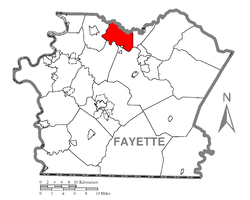 Location of Lower Tyrone Township in Fayette County