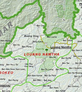 Luang Namtha Province - Image: Map of Luang Namtha Province, Laos
