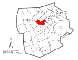 Map of Luzerne County highlighting Plymouth Township