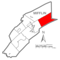 Map of Mifflin County Pennsylvania Highlighting Decatur Township.PNG