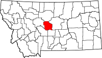 Map of Montana highlighting Judith Basin County
