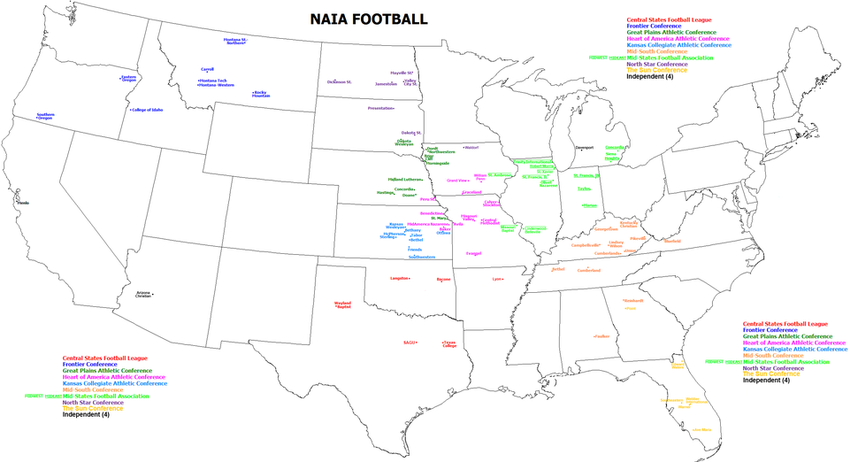 Map of National Association of Intercollegiate Athletics schools playing college football